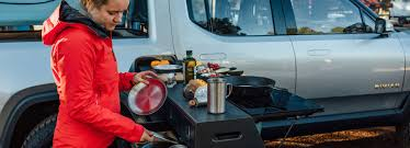 100 Pickup Truck Camper Rivian Adds Pullout Kitchen Option To Its Electric Pickup