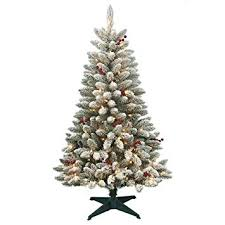 Artificial Christmas Tree Prelit 45 Redwood Pine Flocked Spruce With Stand And 200