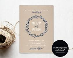 Wreath Wedding Invitation Template Navy Blue Floral Rustic Kraft Cheap Printable PDF Instant Download