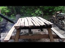 how to build a picnic table out of logs youtube