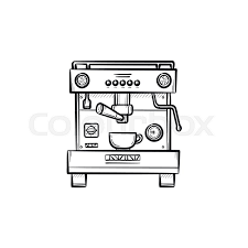 Coffee Maker With Cup Hand Drawn Outline Doodle Icon Modern Automatic Vector Sketch Illustration For Print Web Mobile And Infographics