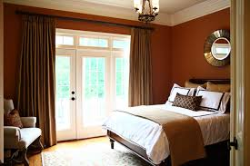 Round Mirror On Plain Wall Paint In Brown Bedroom Ideas With White Door Window Plus Calm