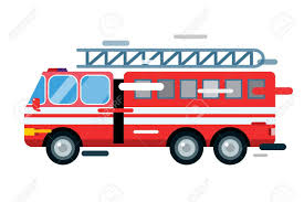 Fire Truck Car Isolated. Fire Truck Cartoon Silhouette. Fire.. Stock ...