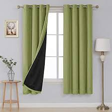 deconovo leinenoptik vorhang verdunkelung ösen sonnenschutz schlafzimmer landhaus ösenvorhang 180x140 cm grün 2er set