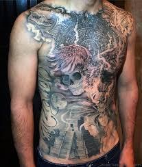 Aztec Tribal Tattoo Design Full Chest