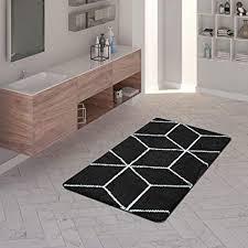 tt home badematte kurzflor teppich für badezimmer mit rauten muster in schwarz weiß größe 50x80 cm