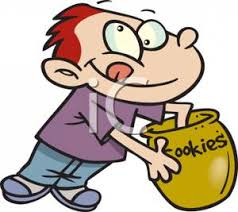 Cartoon of a Boy with His Hand In the Cookie Jar Royalty Free Clipart Picture