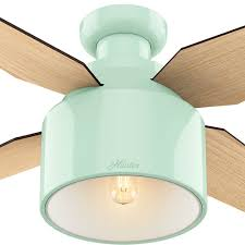 Hunter Outdoor Ceiling Fans Amazon by Hunter 59260 Cranbrook Low Profile Indoor Mint Green 52in