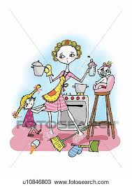 Drawing Of Woman In Kitchen With Two Kids Cooking U10846803