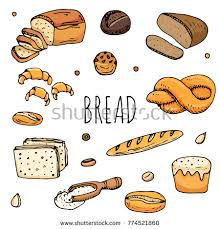 Hand Drawn Doodles Of Cartoon Food Rye Bread Ciabatta Whole Grain