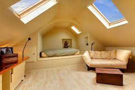 Low Ceiling Attic Bedroom Ideas Leather Headboard Classy Wallpaper Beige Fabric Recli Brown Wood Nighstand Textured Floor