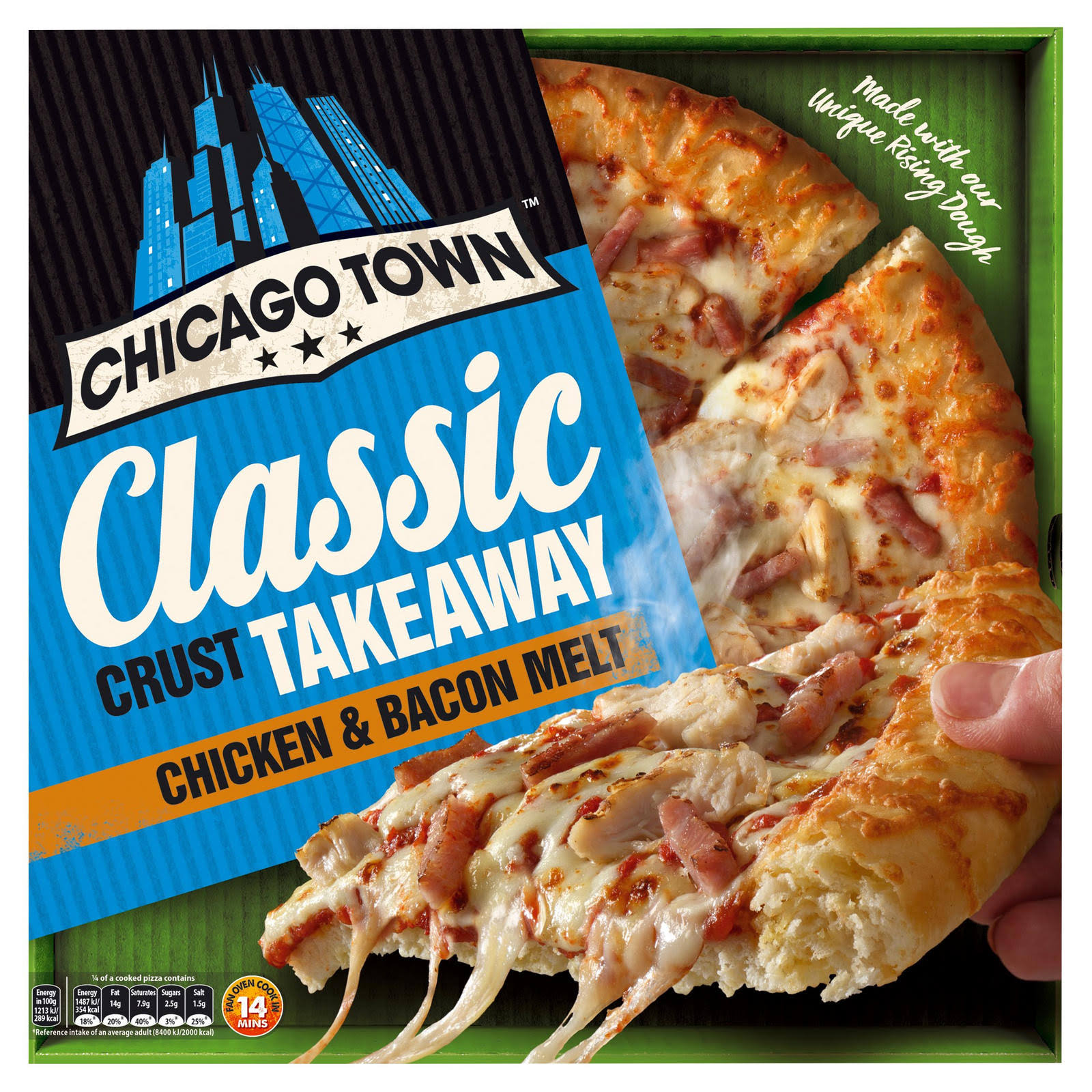 Chicago Town Takeaway Large Classic Pizza - Chicken and Bacon, 495g