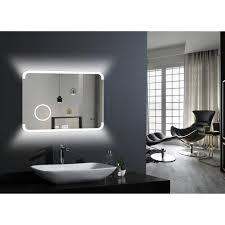 dsk led spiegel silver grace 80 x 60 cm mit uhr und kosmetikspiegel