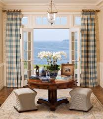 French Door Treatments Ideas by French Doors Covering With Blue Bufallo Check Drapes And Hung High