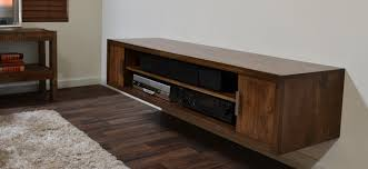 Floating Media Desk In Rustic Style Some Electric Units On Shelves Hardwood Flooring Idea Light