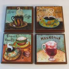 Coffee Kitchen Room Wall Plaques Brown Frame