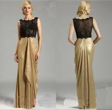sheer bust gold skirt long evening dresses crew neck top lace