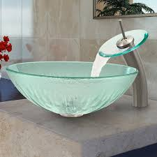 vigo icicles glass vessel sink and waterfall faucet set in brushed