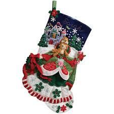 Ebay Christmas Trees India by Amazon Com Bucilla 18 Inch Christmas Stocking Felt Applique Kit