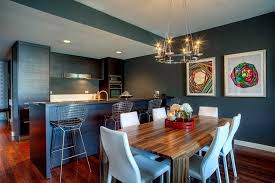 Artistic Interior Texture Creating Beautiful Decoration Modern Minimalist Kitchen Design With Dark Blue Island