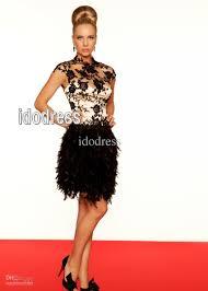 top grade feathers black prom short dresses 2013 sheath high