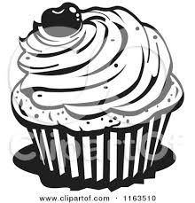 Black And White Cupcake With A Cherry Top by Andy Nortnik