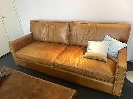 designer vintage echtleder sofa braun
