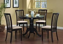 amazon com 5 pc round dining table 4 chairs chair set cappuccino