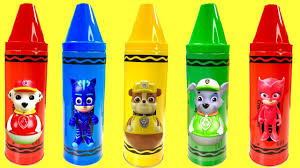 Bathtub Crayons Toys R Us by Learn Colors Video With Paw Patrol Crayon Toy Surprises Fizzy