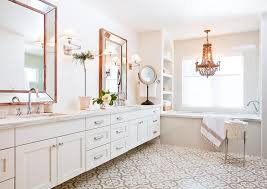 wood beaded chandelier over tub with arched shelves transitional