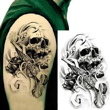 Image Is Loading 2Pcs Cool Skull Body Sticker Tattoo For Men