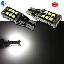 viewi 10x t10 dc 12v w5w led car bulbs 2835 15leds white 200