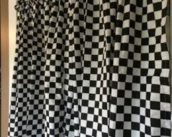 checkered curtain etsy