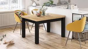design esstisch royal eiche gold craft oak schwarz matt ausziehbar 120 bis 270 cm tisch design impex