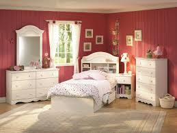 Delectable Teenage Girl Bedroom Decoration Using Red Wall Paint Including Light Pink White Bed Dressing Ideas And Curved Wood Shelf