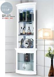China Cabinet In Living Room Furniture Round Corner White Display Showcase Wine