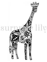 Henna Giraffe Coloring Pages For Adults