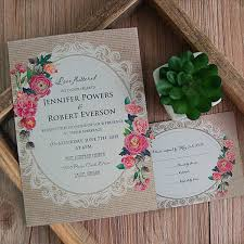 Cheap Vintage Rustic Roses Wedding Invitations EWI397 As Low 094