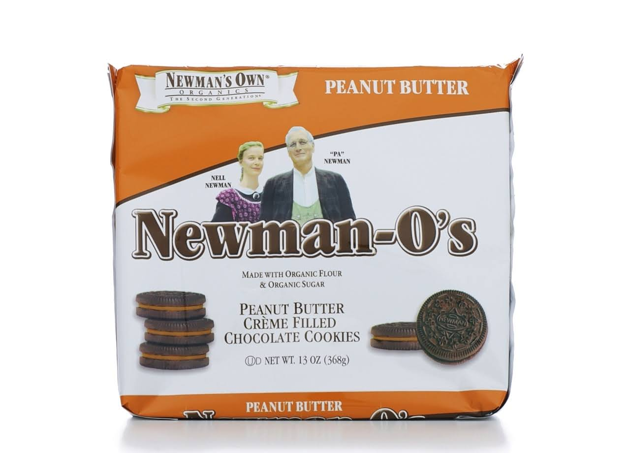 Newman's Own Organics Newman-O's Creme Filled Chocolate Cookies - Peanut Butter, 13oz