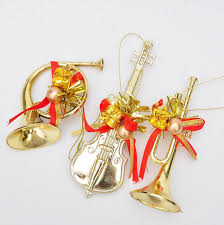 15pcs Gold Silver Musical Instrument Christmas Tree Pendant For Party Holiday Venue Hanging