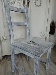 vintage shabby chic stuhl grau weiß
