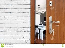 Half Open Door Of A Modern Kitchen Closeup Stock Photo