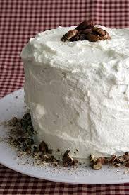 Banana Cake with Praline Frosting and White Chocolate Ganache