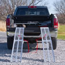 Heavy-Duty Aluminum Folding Arched Dual Runner ATV Ramps - 7'5