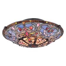 Quoizel Tiffany Lamp Shades by Shop Quoizel Tiffany 17 In W Vintage Bronze Stained Semi Flush