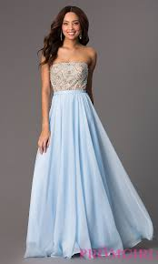 long strapless beaded prom dress promgirl