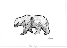 California Flag Bear Outline New Art Black And White Painting Tattoo Pen Geometric Dotwork