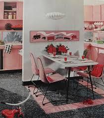 1960s Retro Kitchen Breakfast Nook Dining Pink Red