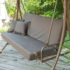 3 person convertible canopy swing patio bed in chocolate