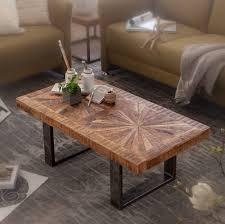wohnling moderner couchtisch mango massivholz 105x40x55 cm tisch im industrial design sofatisch mit holz und metall wohnzimmertisch rustikal